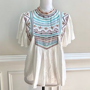NWT Zara TRF collection Embroidered Peasant Top S